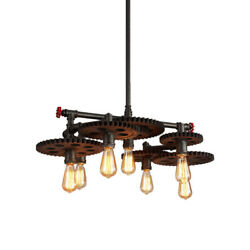 Industrial Vintage Gear Design Pipe Wrought Iron Hanging Pendant LED Chandeliers $198.00