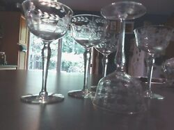 Vintage Antique Crystal Etched Flower Berry Cordial Sherry Glass Set 6 4oz $25.00