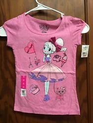 Fifth Sun Girls short sleeve shirt XS 4 5 Girl in dress cupcake Cat. Pink NEW $8.99