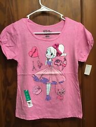 Fifth Sun Girls short sleeve shirt XL 14 16 Girl in dress cupcake Cat. Pink NEW $8.99