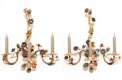 EARLY 20TH C ITALIAN ANTIQUE PAIR HAND PAINTED TIN TOLE FLORAL WALL CANDELABRAS $467.50