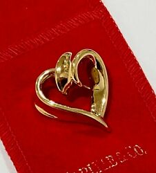 14k Yellow Gold Twisted Open Heart Brooch Pin 3 grams Carlisle & Co  $60.00
