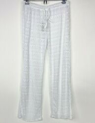 Women's Sheer Lace Swimsuit Beach Cover Up Pants White Drawstring Size Medium $14.99