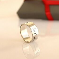 Actual Handwriting Ring Mens Personalized Gift Solid Sterling Silver Ring $51.00