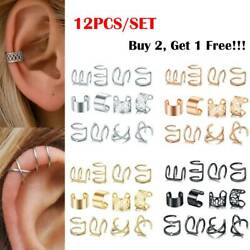 12pcs Lots Stainless Steel Ear Clips on Wrap Ear Cuff Earrings Set Non Piercing $6.88
