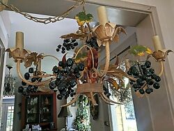 Gorgeous Vintage 6 Light Italian Tole Grape Leaf Mid Century Chandelier $195.00