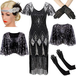 Vintage Fringed 1920s Beaded Flapper Gatsby Wedding Evening Party Cocktail Dress $18.99
