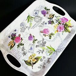 Small Flower Garden Serving Decorative kitchen Tray with Handles coffee Food Tea $11.75