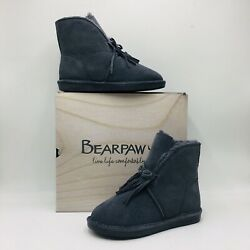 BEARPAW Christie Suede Sheepskin Fringe Boot with NeverWet Charcoal NEW $59.99