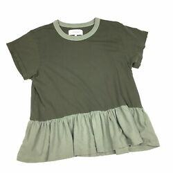 The Great Size 1 Top Shirt Distressed Skirted Womens Olive Green $23.80