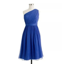 J. Crew Kylie Dress Blue Silk Bridesmaid Cocktail Dress Womens Size 4 NWT