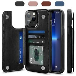 For iPhone 12 13 Pro Max Mini Pro Case Leather Card Wallet Slot Kickstand Cover $5.98