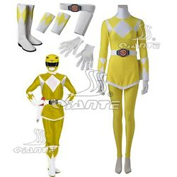 ZYURANGER Power Tiger Ranger Boy Cosplay Costume Yellow Clothing Boots Shoes $158.94