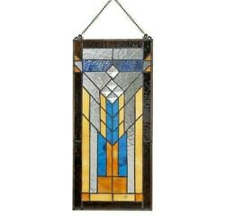 Stained Glass Mission Window Door Panel Handcrafted Tiffany Style 9quot; X 19.5quot; $109.25