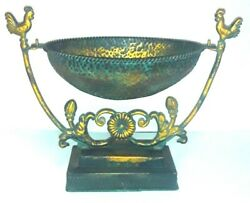 Copper Brass Toned Hammered Metal Hanging Swinging Fruit Bowl Kitchen Roosters. $24.97