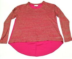 Forever 21 Plus Boho Blouse Size 2X Pink Tunic High Low Top Long Knitted Sleeve $34.75