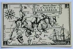 Old postcard THE MAINE COAST FROM CAMDEN TO BAR HARBOR MAP $1.65