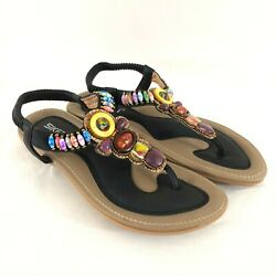 Siketu Womens Sandals Thong T Strap Faux Leather Beaded Colorful Size 40 US 9 $24.99