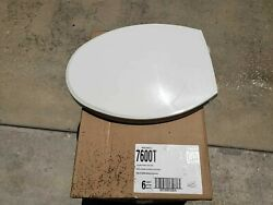 6 NEW BEMIS 7600T ELONGATED COMMERCIAL WHITE TOILET SEAT COVER STA TITE HINGES