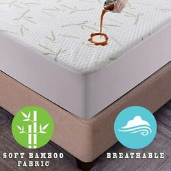 Bamboo Mattress Protector Hypoallergenic amp; Breathable Waterproof Mattress Cover $22.99