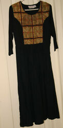 PASSPORTS PIER ONE DRESS LONG SLEEVE VINTAGE SIZE SMALL BLACK GOLD NWOT FREE H $49.00