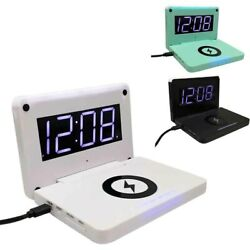 Night LED Digital Phone Wireless Charger 10W Bedside USB Alarm Clock Rectangle $31.05