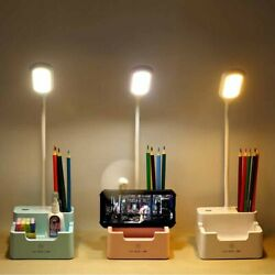 Dormitory With Pen Holder Touch Dimmable LED Desk Lamp Bedside USB Rechargeable $13.40