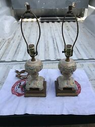 Small VINTAGE ORNATE HAND PAINTED CERAMIC FLORAL PORCELAIN TABLE LAMPs Pair $80.00