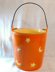Ceramic Pail Bucket Stars and Moons wire handle $5.25