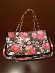 Betsey Johnson Skull and Roses Sequin Handbag Purse Skulls Bag Bags Chain Strap $45.00