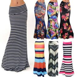 Elastic High waist Long Pencil Skirt For Women 2020 Printed Pencil Maxi Skirt $13.99