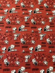 SNOOPY Schroeder MUSIC BOOGIE DOWN Red 100% Cotton Fabric by the Half Yard $6.00