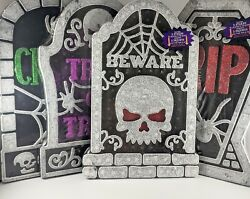 Halloween Tombstone Props Decorations Outdoor Scary Lot of 4 $16.99