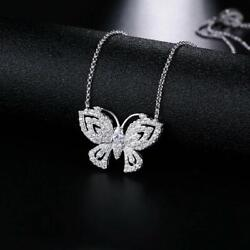 18K White Gold Plated Adjustable Crystal Butterfly Necklace Made With Swarovski $9.99
