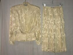 ARGENTI VINTAGE 2 PIECE SKIRT AND SHIRT SIZE 8 100% PURE SILK GORGEOUS 80#x27;S $59.99