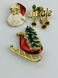 VTG Christmas Santa Brooch Pin Lot Of 3 Gold Tone Enamel Sleigh Jingle Holly $11.88