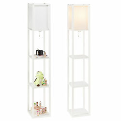 Modern Accent Light Wooden Floor Lamp with Storage Shelves for Living Room New $39.99