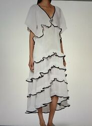Rhode Resort White Ariel Tiered Midi Dress Sz M L $350.00