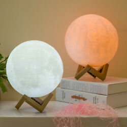 3D Printing Moon Lamp Moonlight USB LED Night Lunar Light Touch Color Changing $10.44
