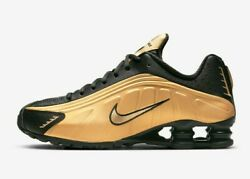 Nike Shox Mens Running Shoes R4 Metallic Gold Black 104265 702 $111.50
