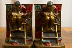 Antique Large Bronze Scholar Library Bookends Marion Bronze Co. 5 lbs each $115.00