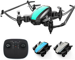 Mini Quadcopter Foldable LED Light Easy Control RC Drone For Beginner Kids Adult $16.69
