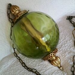 Vintage Swag Lamp Large Green Glass Ball Brass Gold Finial Hanging Light MCM 23quot; $195.96