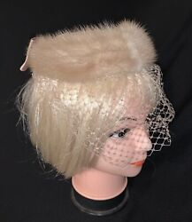 Vintage Womens Tan Fur Bow Net Veil Fascinator Ring Tiara Hat $34.99