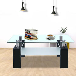 Coffee Table Glass Modern Shelf Wood Living Room Furniture Rectangular Black Hot $70.99