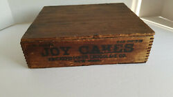 Antique Wooden Joy Cakes Box by Knickerbocker Chocolate Co Nice Primitive Decor $45.00