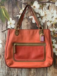 COACH Poppy Vermillion Sun Orange Colorblock Leather Hallie Tote Purse 22430 $69.99