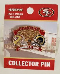 🔥 NFL GAME DAY JANUARY 3 2016 SF 49ERS vs LOS ANGELES RAMS PIN FREE SHIPPING $24.90
