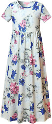 QPANCY Floral Maxi Dresses for Girls Short Sleeve Flower Long Dress with Pockets $23.99