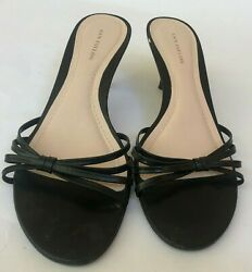 Ann Taylor Womens Heels Shoes Size 7.5 Black Strappy Sandals Slip On $15.99